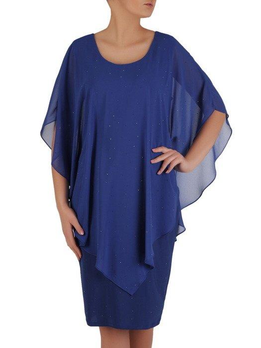Nowoczesna sukienka z narzutką, kreacja ozdobiona dżetami 19240