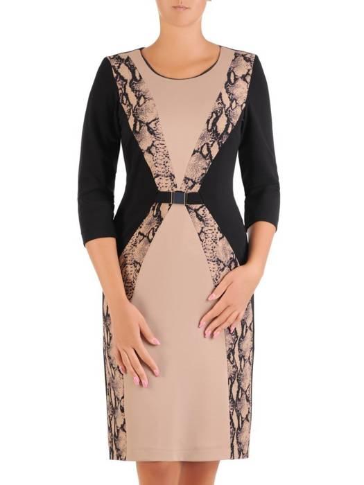 Optycznie wyszczuplająca, elegancka sukienka w zwierzęcym wzorze 26901
