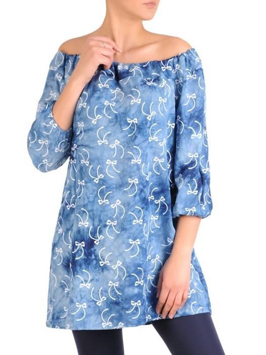 Oryginalna bluzka, tunika z gumką przy dekolcie 29491