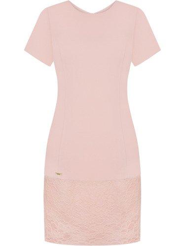 Pastelowa sukienka z koronkową listwą Kaja.