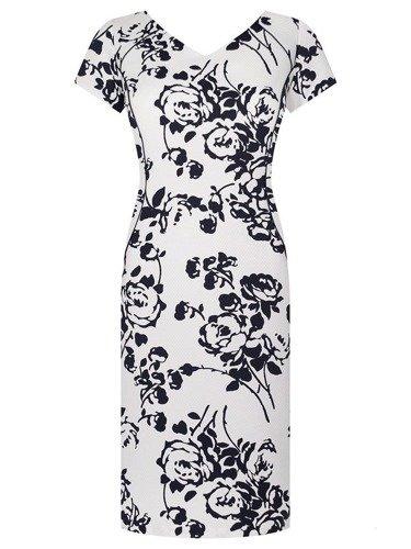 Piękna sukienka w granatowe kwiaty Skarlet.