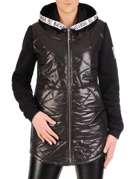 Pikowana kurtka damska na wiosnę w czarnym kolorze 28843