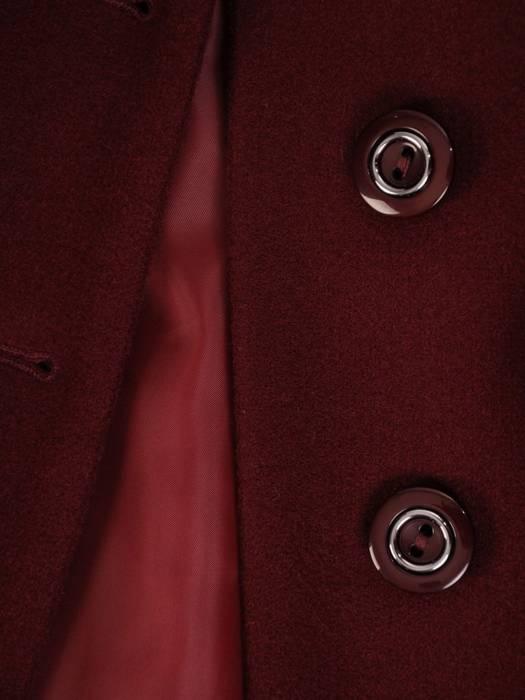 Płaszcz bordowy z futrzaną etolą i wiązanym paskiem 27787