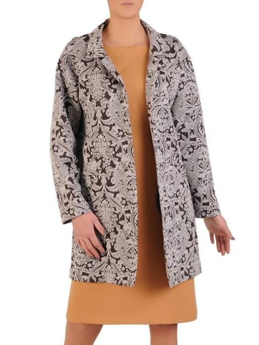 Płaszcz damski z oryginalnym kwiatowym wzorem 28611