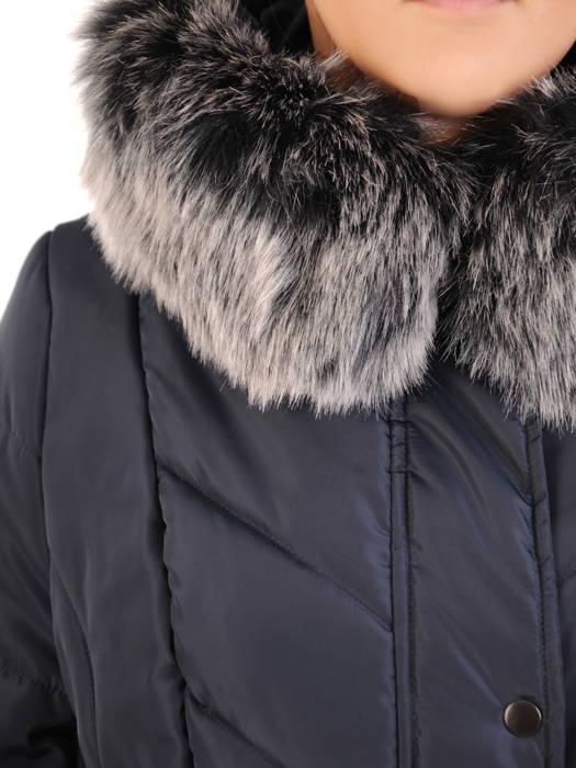 Płaszcz damski z pikowanej tkaniny z ozdobnym kołnierzem 31033