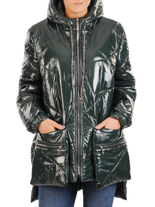 Połyskująca kurtka damska z ozdobnymi kieszeniami  30999