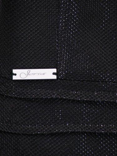 Połyskująca sukienka z ozdobną, tiulową wstawką 14411, nowoczesna mała czarna.
