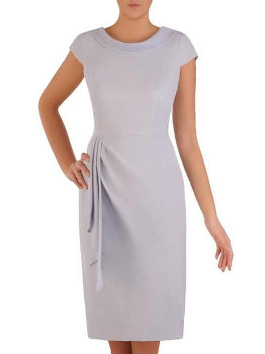 Popieata elegancka sukienka, kreacja z modnym wiązaniem na plecach 28196