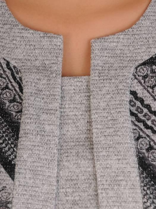 Popielata dzianinowa sukienka, kreacja z imitacją żakietu 28159