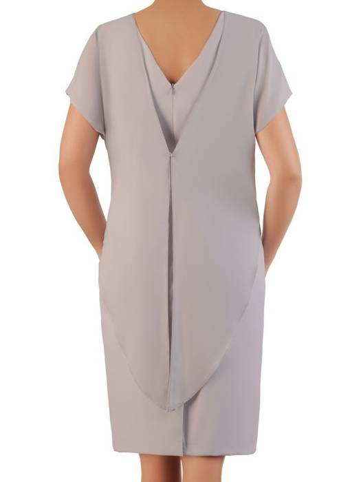 Popielata sukienka wyjściowa z ozdobnym marszczeniem 26327