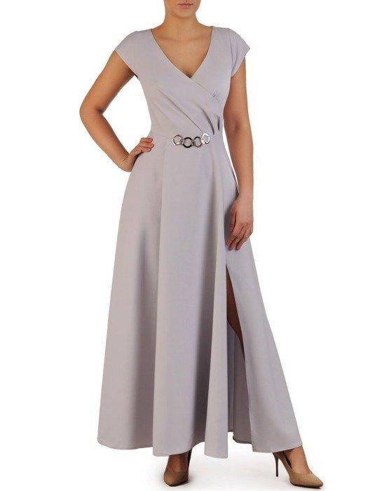 Popielata suknia z kopertowym dekoltem i nowoczesną aplikacją 23180
