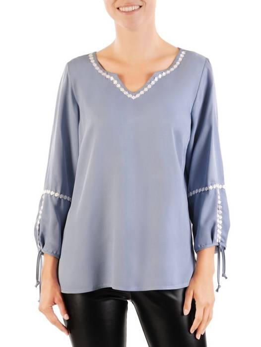 Prosta bluzka damska z oryginalnym wykończeniem rękawów 30497