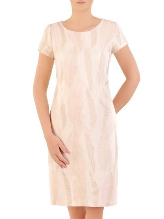 Prosta sukienka na wesele, kreacja z tkaniny żakardowej 30044