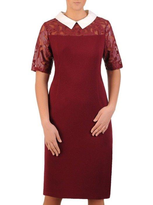 Prosta sukienka wizytowa, kreacja z odpinanym kołnierzykiem 24080