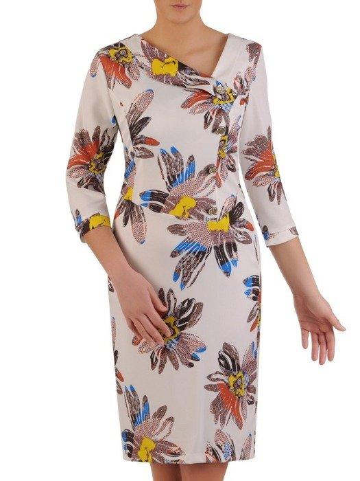Prosta sukienka z ciekawym wzorem, wiosenna kreacja z guzikami 25026