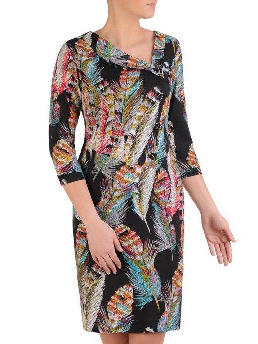 Prosta sukienka z ciekawym wzorem, wiosenna kreacja z guzikami 25452