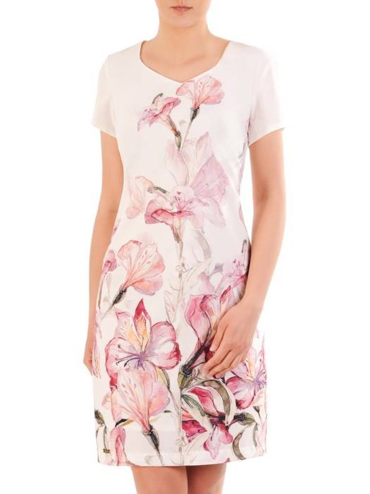 Prosta sukienka z modnym, kwiatowym wzorem 29922
