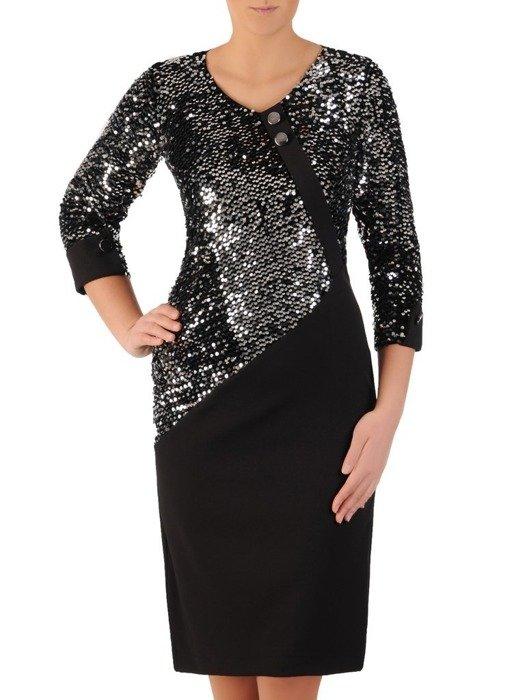 Prosta sukienka z oryginalnym połyskującym topem, elegancka kreacja wyszczuplająca brzuch 24266