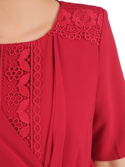 Prosta sukienka z ozdobnym wiązaniem, kreacja z koronkowymi wstawkami 29848