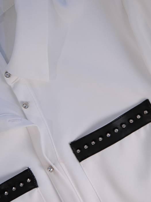 Przedłużana koszula z długim rękawem i kołnierzykiem, klasyka w garderobie 28024