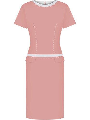 Pudrowa sukienka z lamówkami Ksawera VIII, klasyczna kreacja na wiosnę.