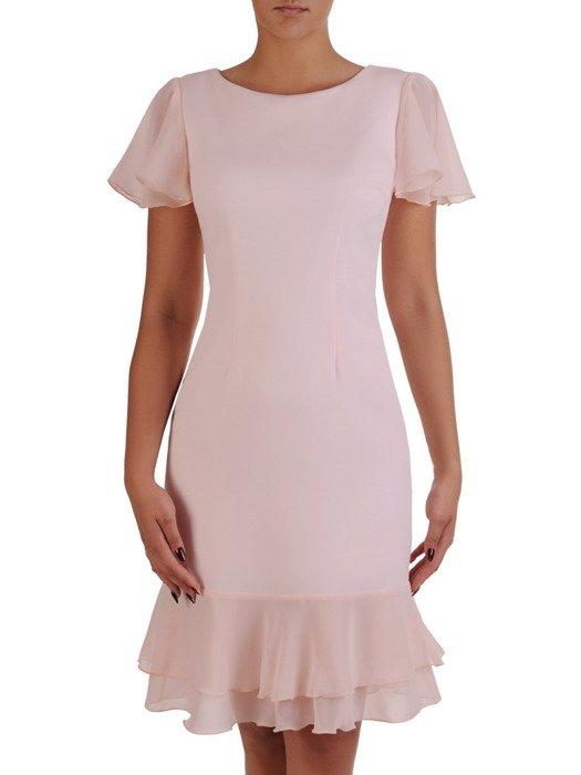 Pudrowa sukienka z szyfonowymi falbankami 17209.