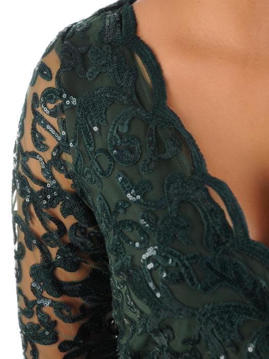Rozkloszowana sukienka na wesele, kreacja z kopertowym dekoltem 22492