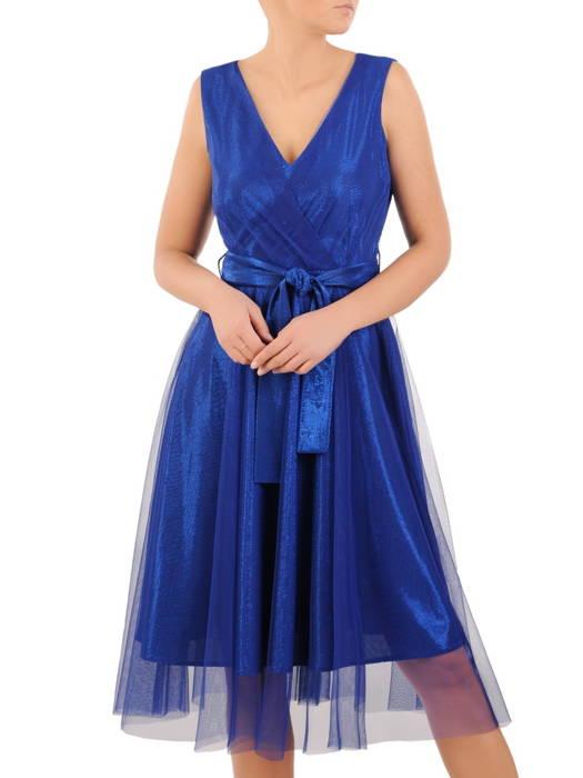Rozkloszowana sukienka na wesele, kreacja z połyskującego materiału 30751