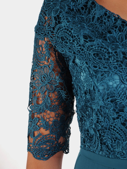 Rozkloszowana sukienka na wesele, zwiewna kreacja z koronki i szyfonu 23144
