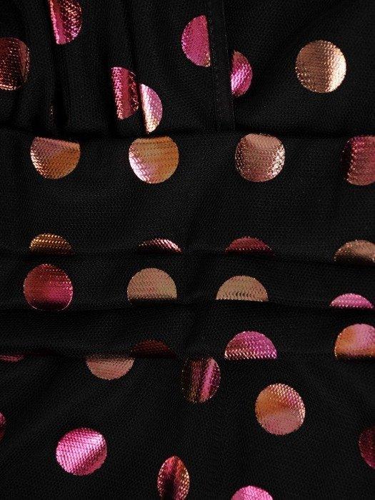 Rozkloszowana sukienka w groszki, kopertowa kreacja z tiulu 24485