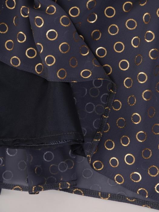 Rozkloszowana sukienka w koła, szyfonowa kreacja z paskiem 22016