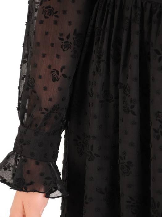 Rozkloszowana sukienka w kwiaty, kreacja z ozdobnym wiązaniem 30524