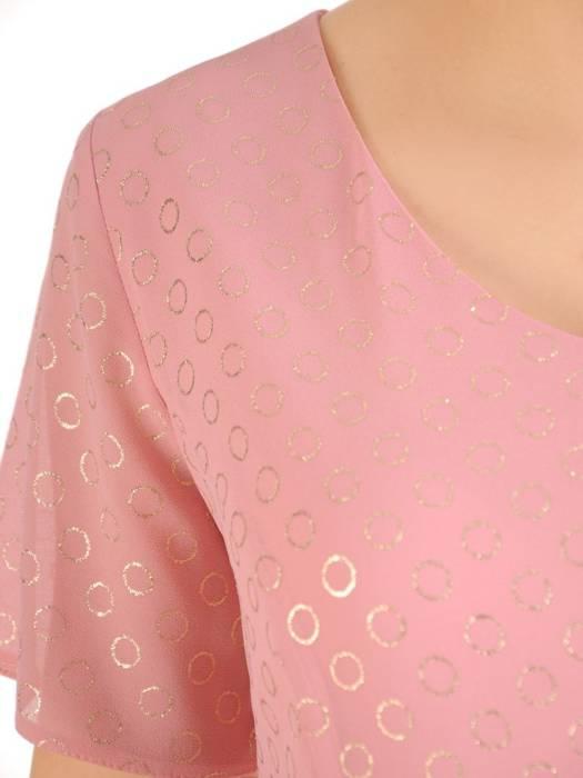 Rozkloszowana sukienka w złote kółka, modna kreacja z paskiem 29426