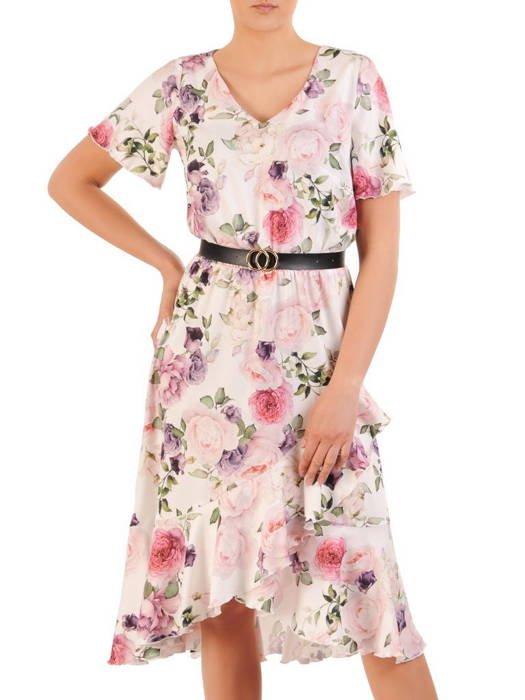 Rozkloszowana sukienka z asymetrycznym dołem 29932