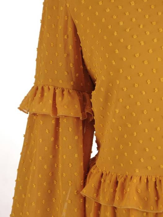 Rozkloszowana sukienka z falbankami, kreacja jesienna 27361