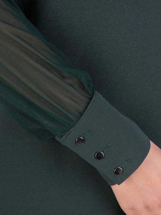 Rozkloszowana sukienka z modnymi rękawami 18311, zielona kreacja wizytowa.