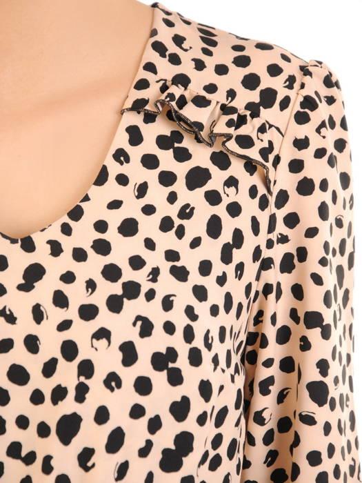 Rozkloszowana sukienka z ozdobnymi falbanami w zwierzęcym wzorze 31092