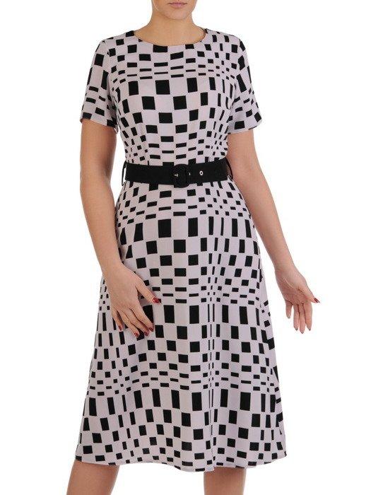 Rozkloszowana sukienka z paskiem, kreacja w kontrastowych kolorach 19538.
