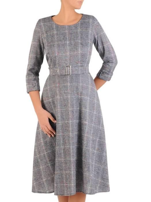 Rozkloszowana sukienka z paskiem, kreacja w kratkę 27592