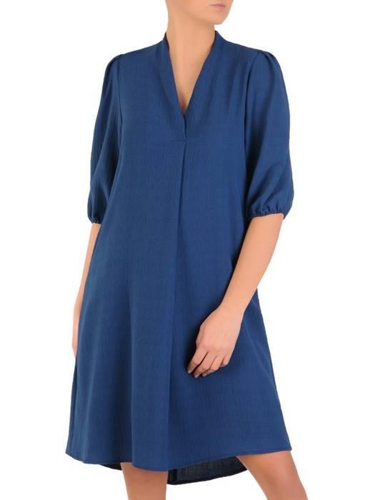 Rozkloszowana sukienka z paskiem, kreacja z gumkami na rękawach 28257