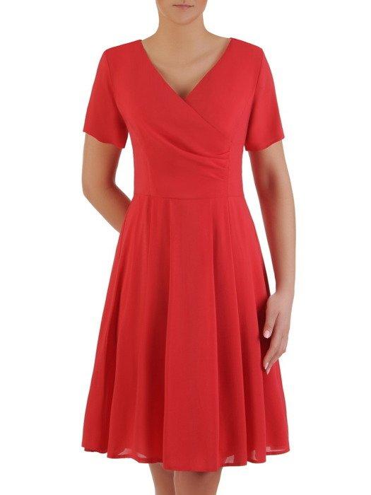 Rozkloszowana sukienka z szyfonu, kreacja z kopertowym dekoltem 19756