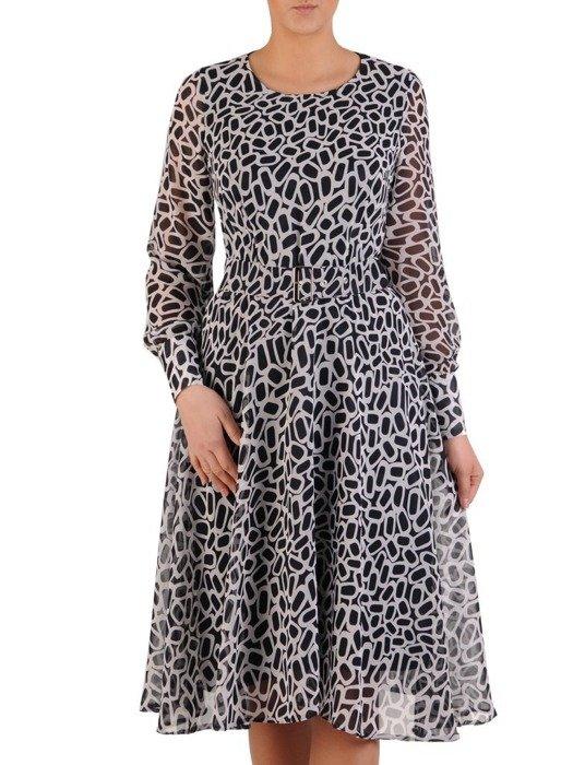 Rozkloszowana sukienka z szyfonu, kreacja z paskiem 24671