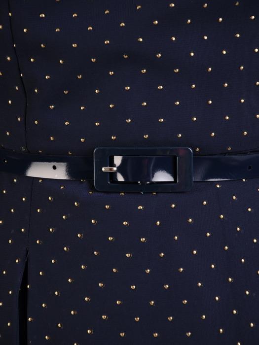 Rozkloszowana sukienka z szyfonu, kreacja zdobiona dżetami 22063.