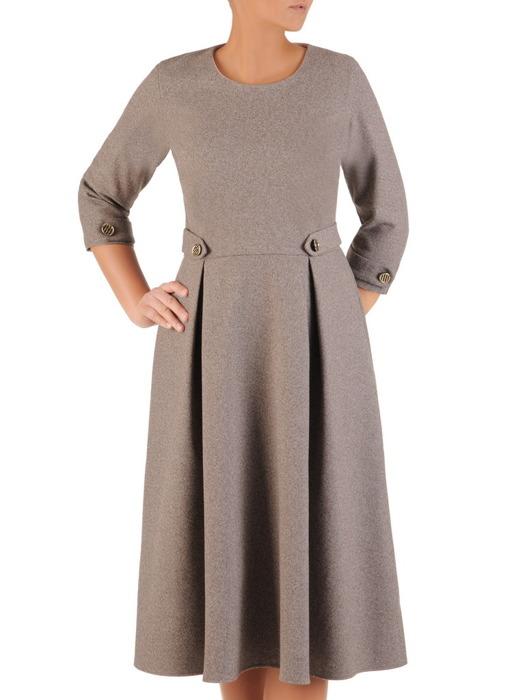 Rozkloszowana sukienka z wełny, kreacja z modnymi patkami 22976