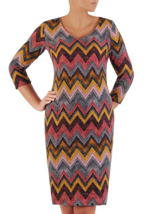 Sukienka codzienna, prosta kreacja w geometrycznym wzorze 22151.