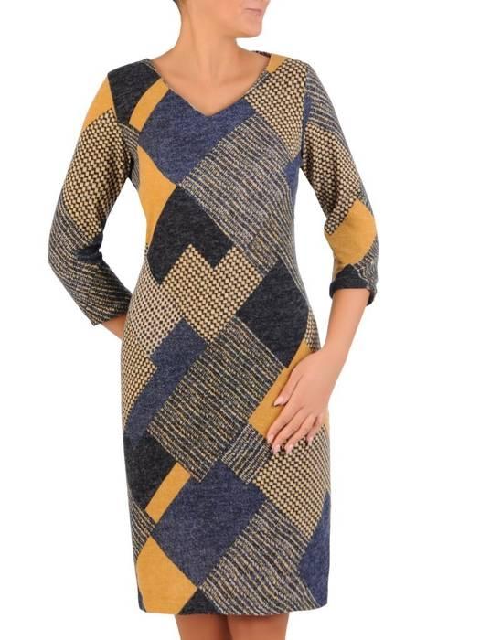 Sukienka codzienna, prosta kreacja w geometrycznym wzorze 27696