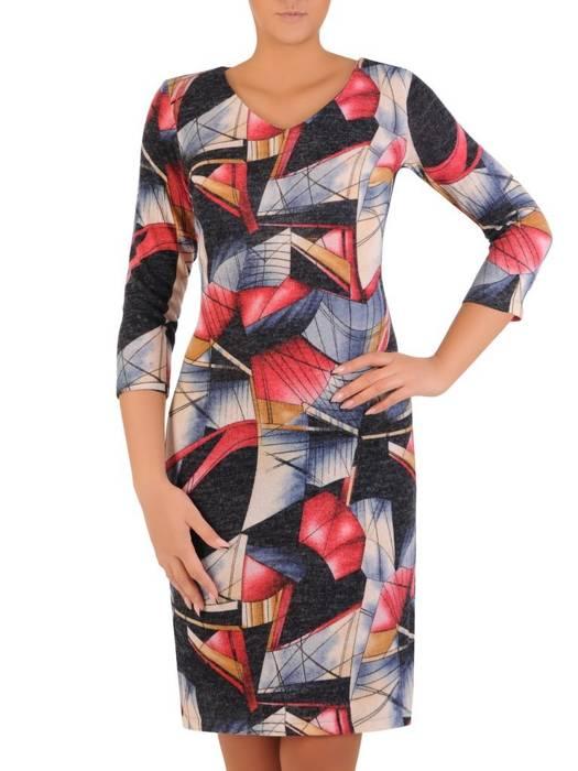 Sukienka codzienna, prosta kreacja w geometrycznym wzorze 27697