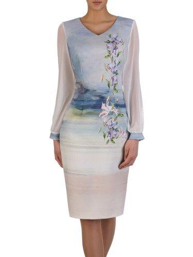 Sukienka damska 15261, wiosenna kreacja z delikatnymi rękawami.