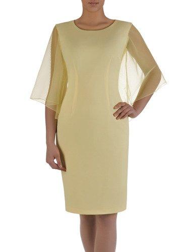 Sukienka damska 15784, żółta kreacja z modnymi rękawami.