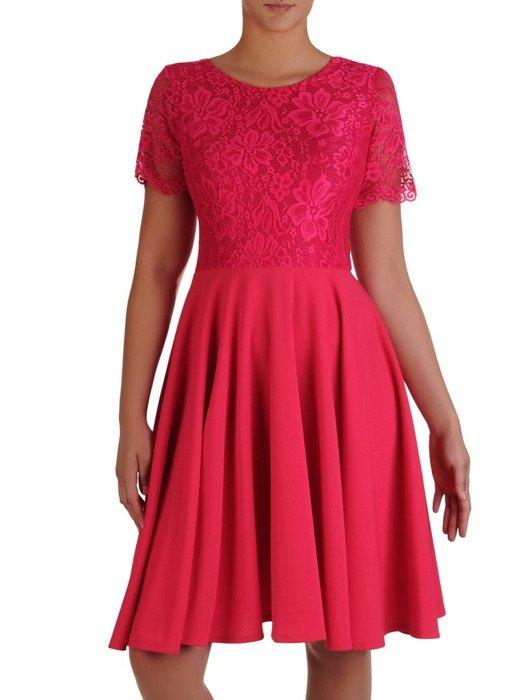 Sukienka damska 17155, elegancka kreacja z tkaniny i koronki.